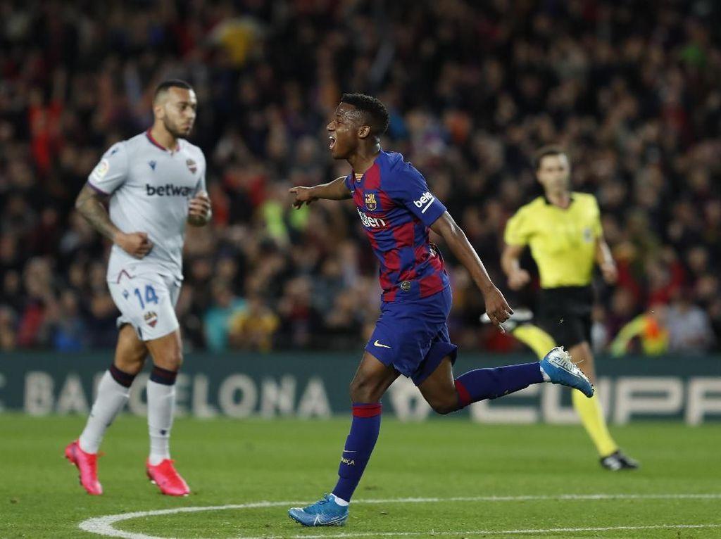 Sepasang Gol Ansu Fati Bawa Barcelona Bekuk Levante