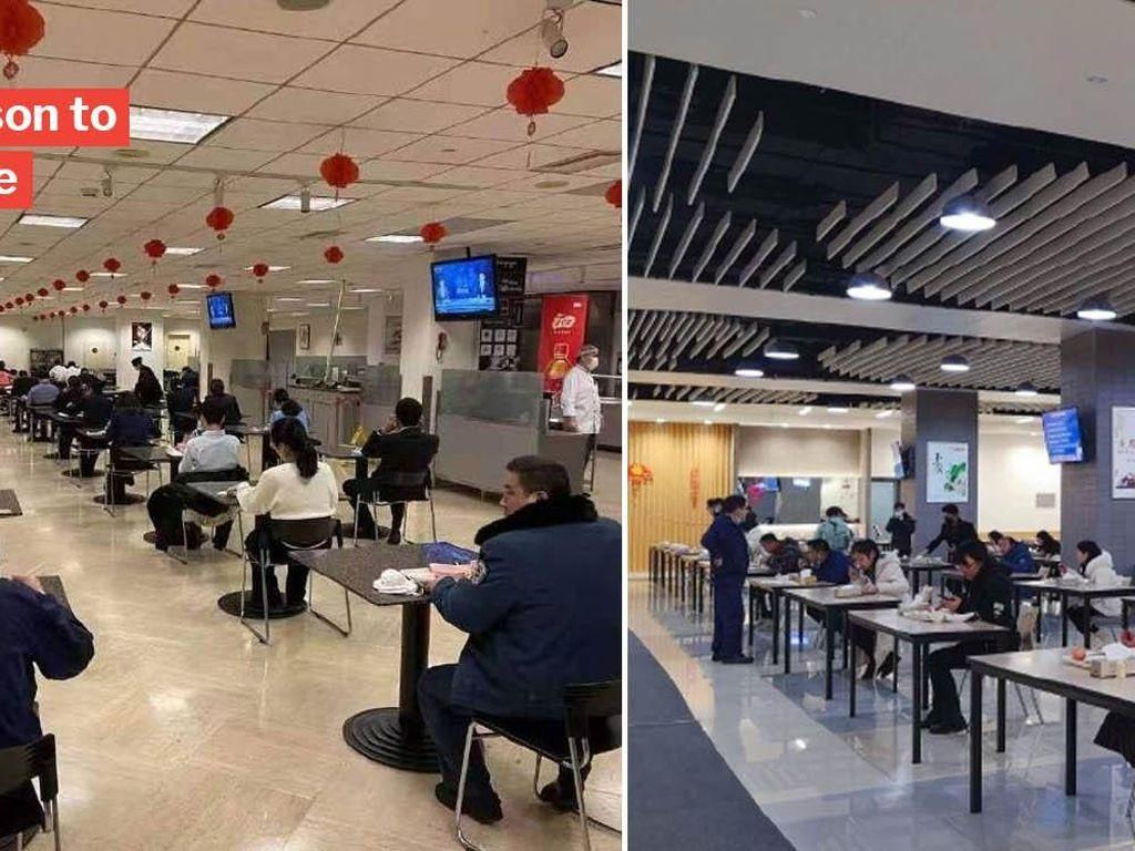 Makan Harus Sendiri, Kantin di China Terlihat Seperti Tempat Ujian karena Virus Corona