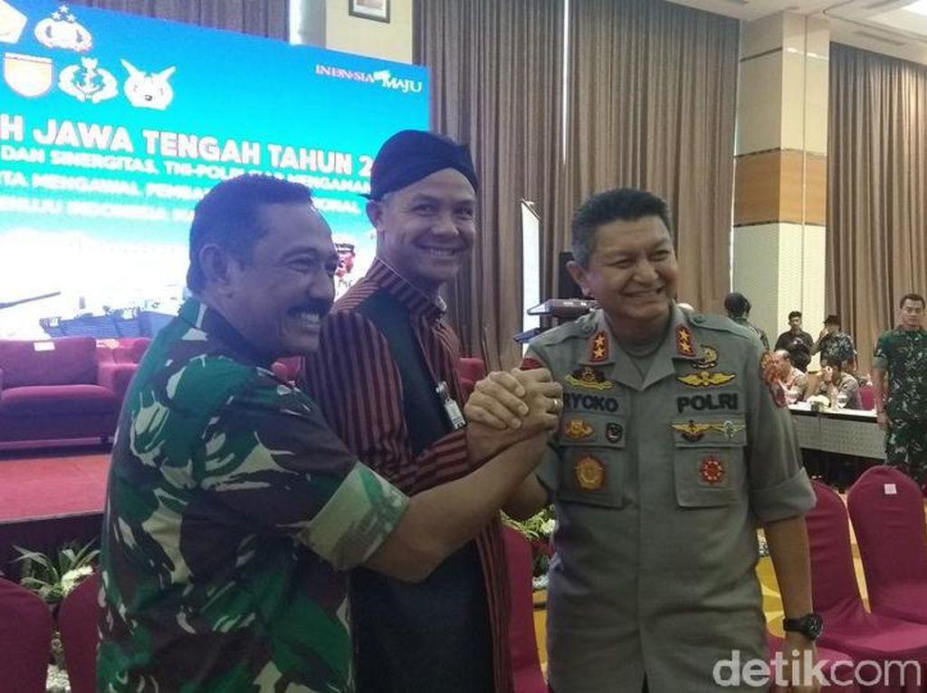 Sambut Pilkada Serentak, Gubernur Ganjar Rapat Bareng TNI-Polda Jateng