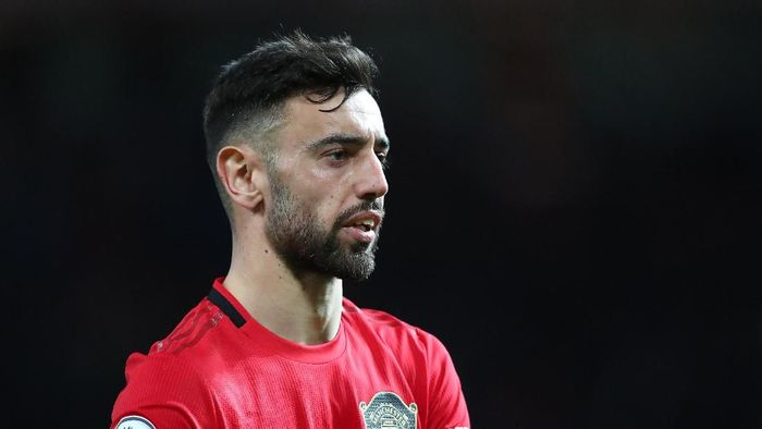MANCHESTER, ENGLAND - FEBRUARY 01:  Bruno Fernandes of Manchester United looks on during the Premier League match between Manchester United and Wolverhampton Wanderers at Old Trafford on February 01, 2020 in Manchester, United Kingdom. (Photo by Alex Livesey/Getty Images)