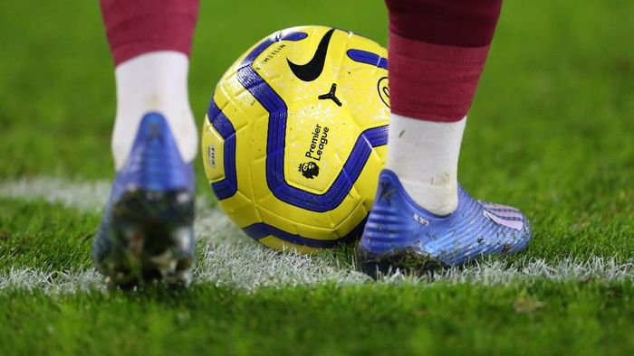LEICESTER, ENGLAND - JANUARY 22: The Nike Merlin ball at the feet of a player during the Premier League match between Leicester City and West Ham United at The King Power Stadium on January 22, 2020 in Leicester, United Kingdom. (Photo by Catherine Ivill/Getty Images)
