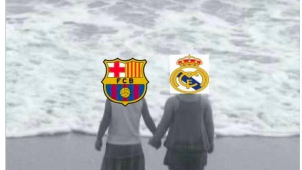 Meme Kocak Barcelona dan Real Madrid Kandas Berbarengan