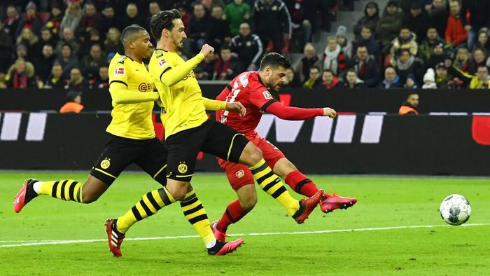 Leverkusens Kevin Volland scores his side opening goal the German Bundesliga soccer match between Bayer Leverkusen and Borussia Dortmund in Leverkusen, Germany, Saturday, Feb. 8, 2020. (AP Photo/Martin Meissner)