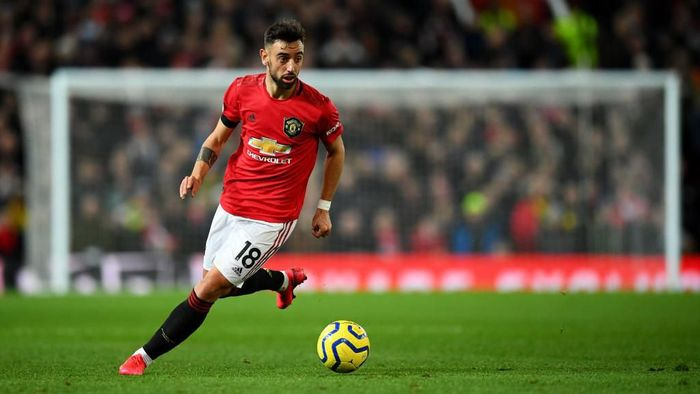 MANCHESTER, ENGLAND - FEBRUARY 01: Bruno Fernandes of Manchester United in action during the Premier League match between Manchester United and Wolverhampton Wanderers at Old Trafford on February 01, 2020 in Manchester, United Kingdom. (Photo by Clive Mason/Getty Images)