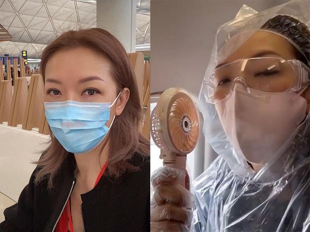 Artis Pakai Jas Ponco Saat Terbang ke Kuala Lumpur, Tahan Corona?