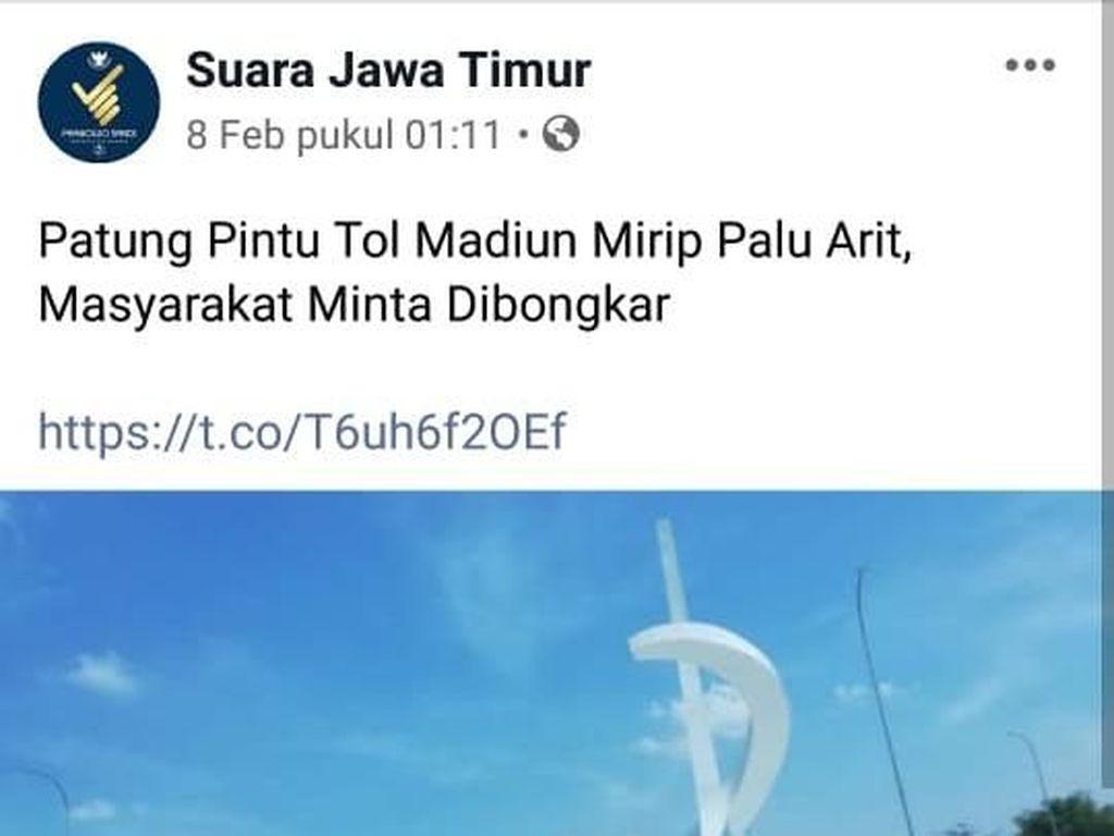 Viral Tugu Gerbang Tol Madiun yang Dikaitkan dengan Palu Arit PKI