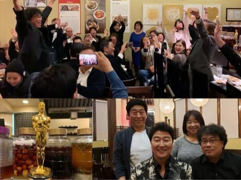 Momen Manis Pemain dan Kru Parasite Rayakan Kemenangan di Resto Korea