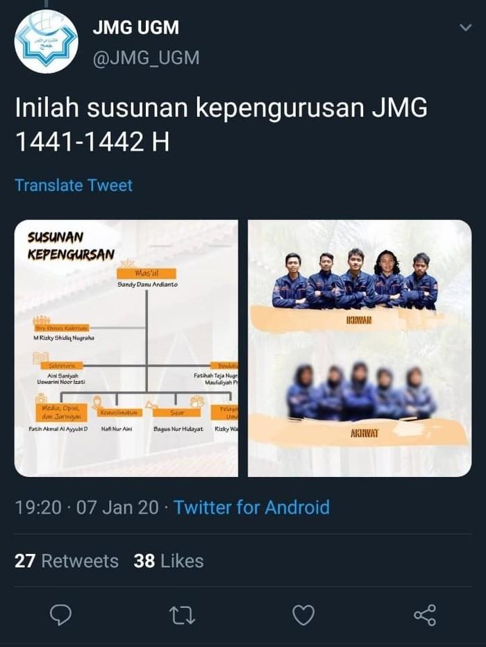 Foto mahasiswi pengurus JMG UGM diblur, Selasa (11/2/2020).