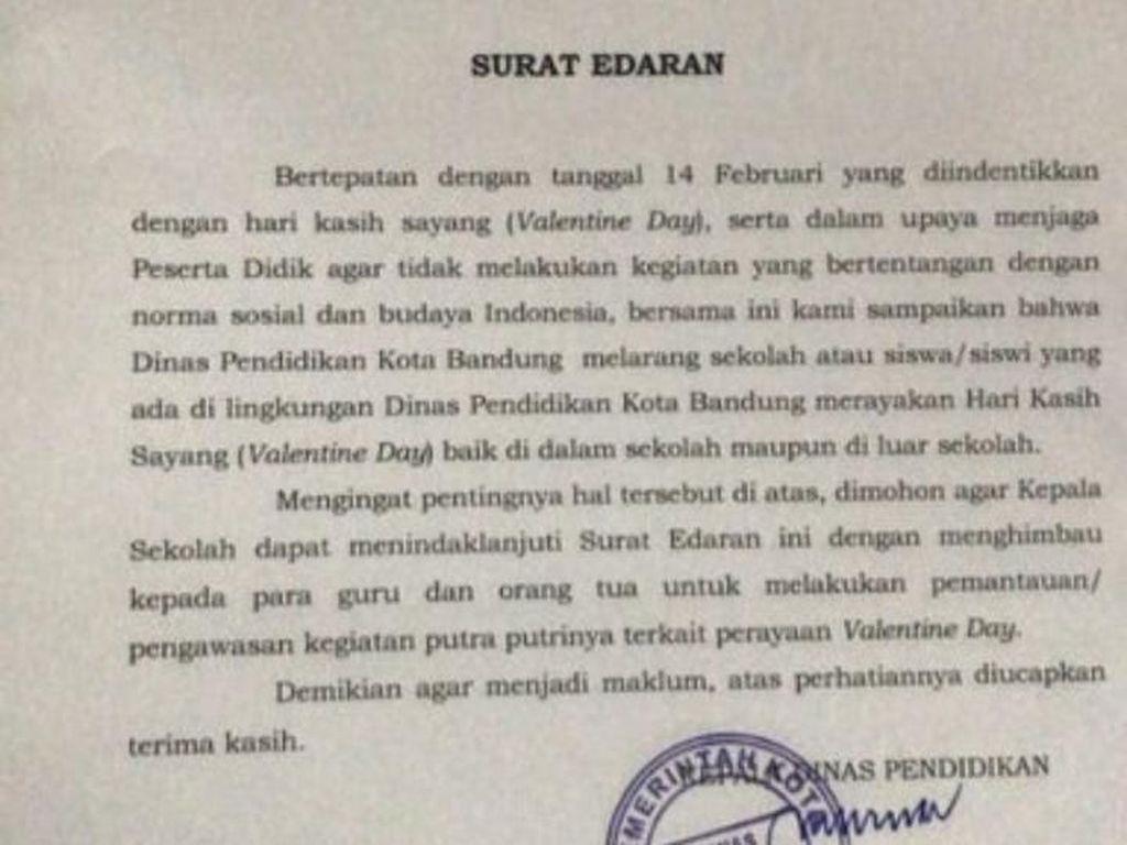 Disdik Kota Bandung Larang Pelajar SD-SMP Rayakan Valentine Day