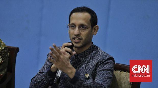 Menteri Pendidikan dan Kebudayaan (Mendikbud), Nadiem Makarim memberikan keterangan pada wartawan. Jakarta, Rabu,12 Februari 2020.