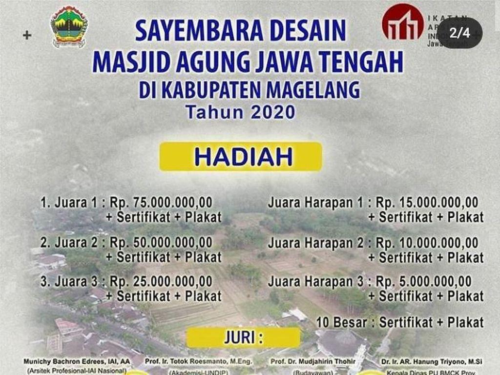 Sluurr! Sayembara Desain Masjid Agung Jateng Berhadiah Ratusan Juta