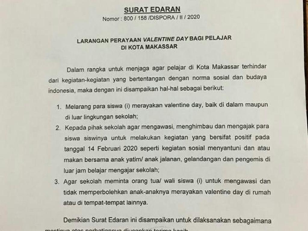 Pemkot Makassar Keluarkan Surat Edaran Larang Siswa Rayakan Valentine