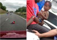 Astaga! Orang Tua Ugal-ugalan Anak Terlempar ke Jalan Tol