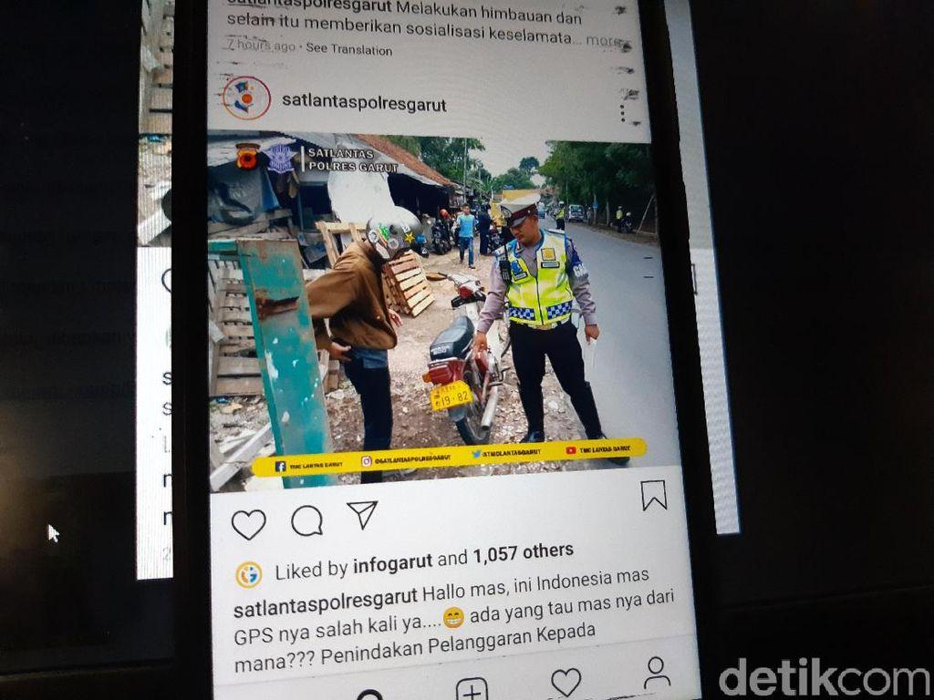 Polisi Garut Tilang Pemotor yang Pakai Pelat Nomor Asing
