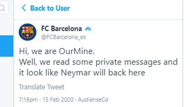 Akun Twitter Barcelona Diretas, Kabarkan Bakal Boyong Kembali Neymar