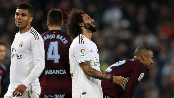 MADRID, SPAIN - FEBRUARY 16: Marcelo of Real Madrid reacts after the La Liga match between Real Madrid CF and RC Celta de Vigo at Estadio Santiago Bernabeu on February 16, 2020 in Madrid, Spain. (Photo by Angel Martinez/Getty Images)