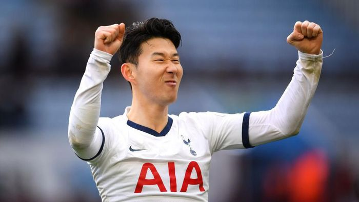 BIRMINGHAM, ENGLAND - FEBRUARY 16: Heung-Min Son of Tottenham Hotspur celebrates victory  during the Premier League match between Aston Villa and Tottenham Hotspur at Villa Park on February 16, 2020 in Birmingham, United Kingdom. (Photo by Laurence Griffiths/Getty Images)