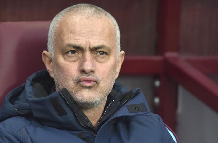 Tottenham's manager Jose Mourinho waits for the start of the English Premier League soccer match between Aston Villa and Tottenham Hotspur at Villa Park in Birmingham, England, Sunday, Feb. 16, 2020. (AP Photo/Rui Vieira)