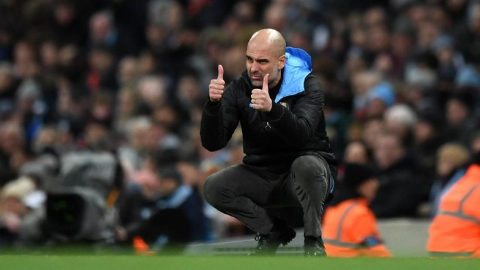 MANCHESTER, ENGLAND - JANUARY 29: Pep Guardiola, Manager of Manchester City reacts during the Carabao Cup Semi Final match between Manchester City and Manchester United at Etihad Stadium on January 29, 2020 in Manchester, England. (Photo by Shaun Botterill/Getty Images)