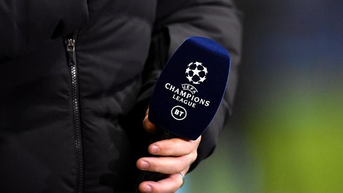 MANCHESTER, ENGLAND - OCTOBER 22: The Champions League and BT Sport logos are seen on a microphone prior to the UEFA Champions League group C match between Manchester City and Atalanta at Etihad Stadium on October 22, 2019 in Manchester, United Kingdom. (Photo by Michael Regan/Getty Images)