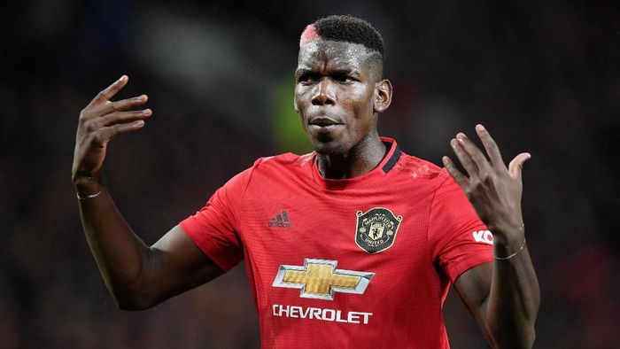 MANCHESTER, ENGLAND - SEPTEMBER 30: Paul Pogba of Manchester United reacts during the Premier League match between Manchester United and Arsenal FC at Old Trafford on September 30, 2019 in Manchester, United Kingdom. (Photo by Michael Regan/Getty Images)