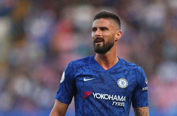LONDON, ENGLAND - AUGUST 18: Olivier Giroud of Chelsea during the Premier League match between Chelsea FC and Leicester City at Stamford Bridge on August 18, 2019 in London, United Kingdom. (Photo by Catherine Ivill/Getty Images)