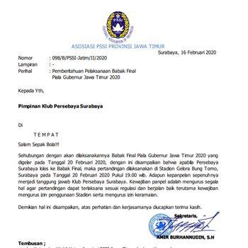 Final Piala Gubernur Jatim: Persebaya Vs Persija di Gelora Bung Tomo