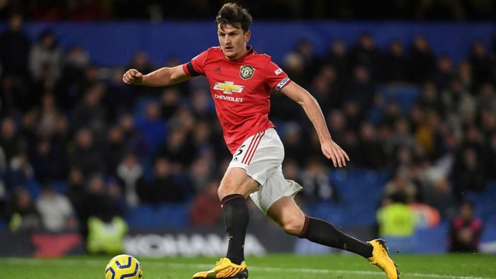 LONDON, ENGLAND - FEBRUARY 17: Harry Maguire of Manchester United  during the Premier League match between Chelsea FC and Manchester United at Stamford Bridge on February 17, 2020 in London, United Kingdom. (Photo by Mike Hewitt/Getty Images)