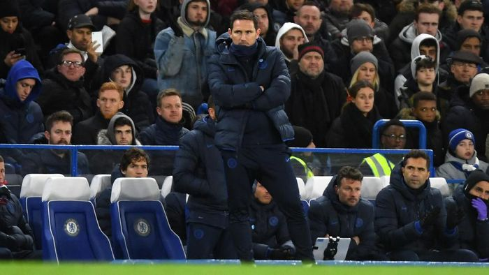 LONDON, ENGLAND - FEBRUARY 17: Frank Lampard, Manager of Chelsea during the Premier League match between Chelsea FC and Manchester United at Stamford Bridge on February 17, 2020 in London, United Kingdom. (Photo by Mike Hewitt/Getty Images)