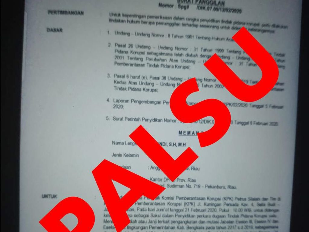 KPK Tegaskan Surat Panggilan untuk Anggota DPRD Riau Palsu