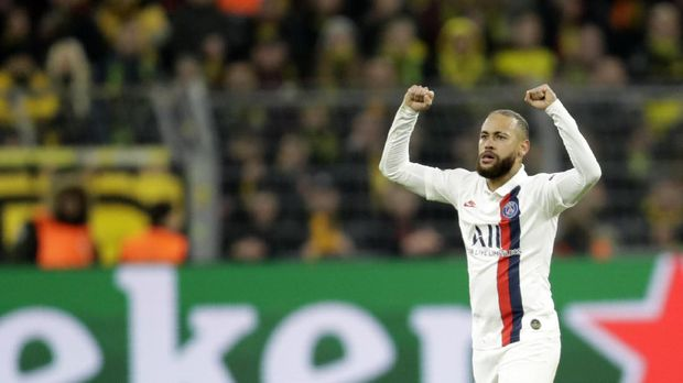 PSG's Neymar celebrates after scoring his side's opening goal during the Champions League round of 16 first leg soccer match between Borussia Dortmund and Paris Saint Germain in Dortmund, Germany, Tuesday, Feb. 18, 2020. (AP Photo/Michael Probst)