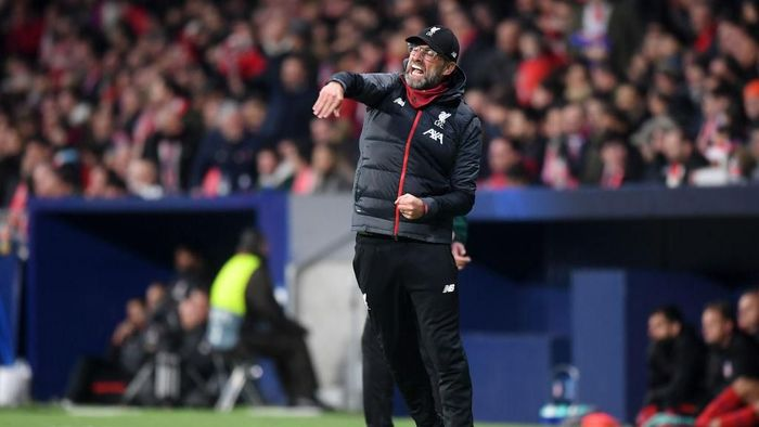 MADRID, SPAIN - FEBRUARY 18: Jurgen Klopp, Manager of Liverpool reacts during the UEFA Champions League round of 16 first leg match between Atletico Madrid and Liverpool FC at Wanda Metropolitano on February 18, 2020 in Madrid, Spain. (Photo by Michael Regan/Getty Images)