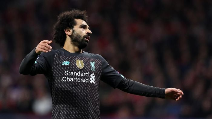 MADRID, SPAIN - FEBRUARY 18: Mohamed Salah of Liverpool reacts during the UEFA Champions League round of 16 first leg match between Atletico Madrid and Liverpool FC at Wanda Metropolitano on February 18, 2020 in Madrid, Spain. (Photo by Angel Martinez/Getty Images)