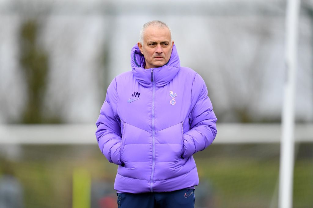 LONDON, ENGLAND - FEBRUARY 18: Jose Mourinho, Manager of Tottenham Hotspur looks on during a training session ahead of their UEFA Champions League Round of 16 first leg match against RB Leipzig at Hotspur Way Training Ground on February 18, 2020 in London, England. (Photo by Justin Setterfield/Getty Images)