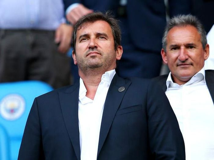 MANCHESTER, ENGLAND - SEPTEMBER 01: Ferran Soriano is seen in the stands prior to the Premier League match between Manchester City and Newcastle United at Etihad Stadium on September 1, 2018 in Manchester, United Kingdom.  (Photo by Alex Livesey/Getty Images)