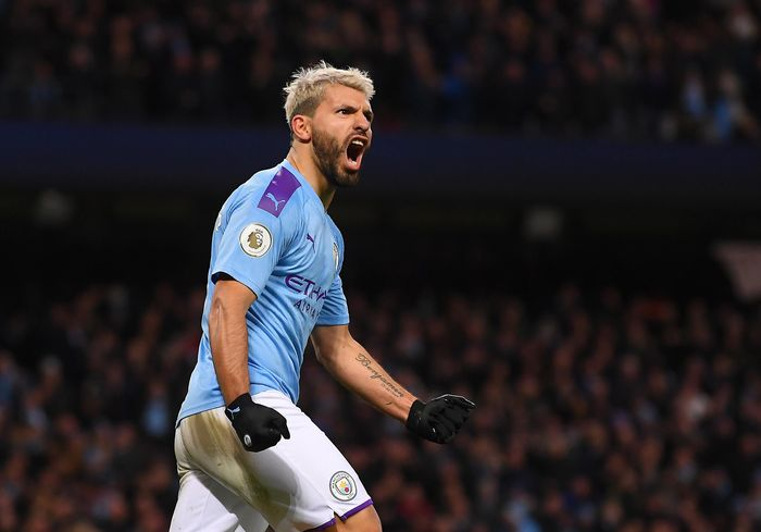 BRIGHTON, ENGLAND - MAY 12: Sergio Aguero of Manchester City  celebrates with the Premier League Trophy after winning the title following the Premier League match between Brighton & Hove Albion and Manchester City at American Express Community Stadium on May 12, 2019 in Brighton, United Kingdom. (Photo by  Shaun Botterill/Getty Images)