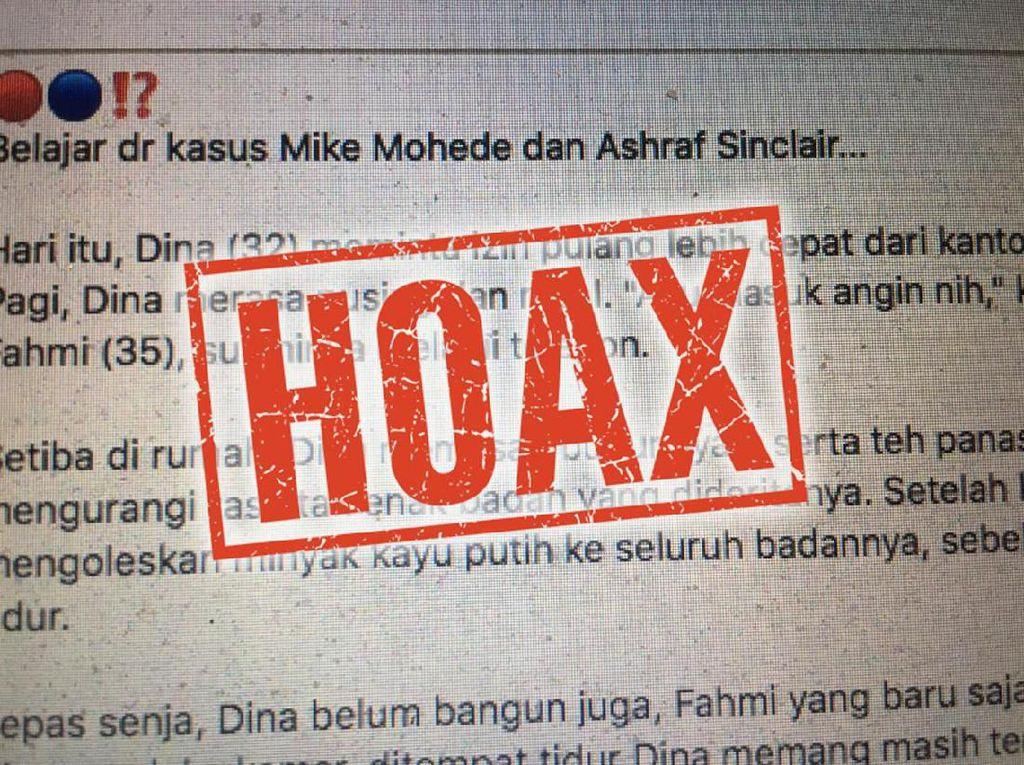Hoax Angin Duduk Bawa-bawa Ashraf Sinclair dan Mike Mohede, Ini Faktanya