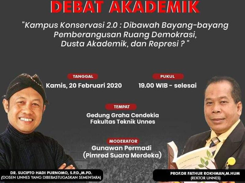 Debat Dosen Diskors Hina Jokowi Vs Rektor, Unnes Cemas Saur Manuk