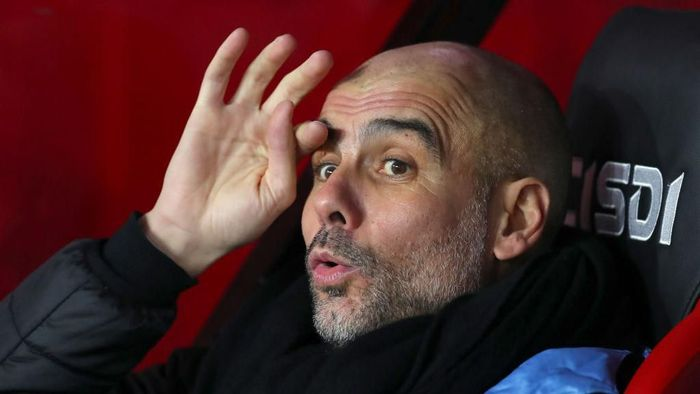 SHEFFIELD, ENGLAND - JANUARY 21: Pep Guardiola, Manager of Manchester City looks on prior to the Premier League match between Sheffield United and Manchester City at Bramall Lane on January 21, 2020 in Sheffield, United Kingdom. (Photo by Catherine Ivill/Getty Images)