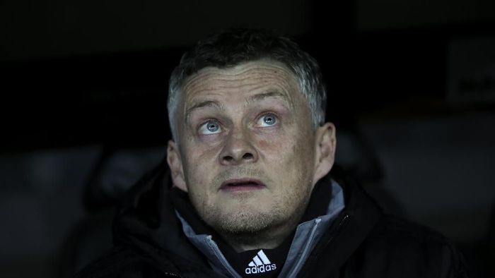Manchester Uniteds manager Ole Gunnar Solskjaer sits on the bench prior an Europa League round of 32 first leg soccer match between Brugge and Manchester United at the Jan Breydel stadium in Bruges, Belgium, Thursday, Feb. 20, 2020. (AP Photo/Francisco Seco)
