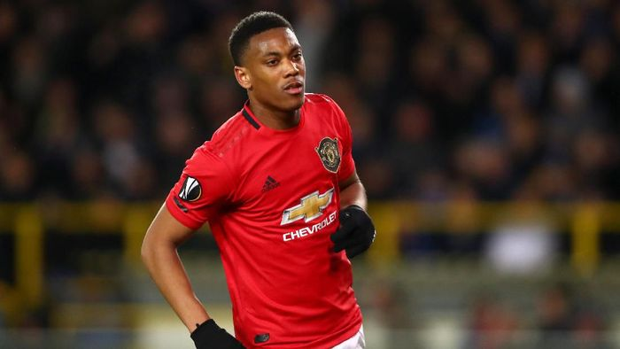 BRUGGE, BELGIUM - FEBRUARY 20:  Anthony Martial of Manchester United celebrates after scoring his teams first goal during the UEFA Europa League round of 32 first leg match between Club Brugge and Manchester United at Jan Breydel Stadium on February 20, 2020 in Brugge, Belgium. (Photo by Dean Mouhtaropoulos/Getty Images)