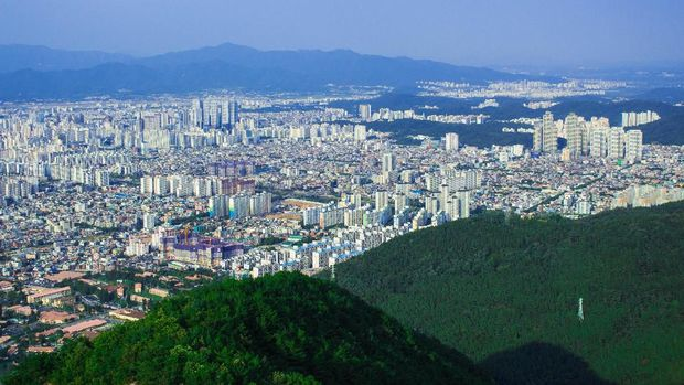 The image of cityscape from the top of Apsan mountain in Daegu, Korea.
