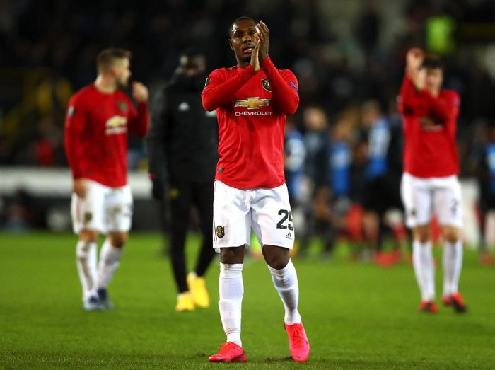 BRUGGE, BELGIUM - FEBRUARY 20:  Odion Ighalo of Manchester United applauds fans after  the UEFA Europa League round of 32 first leg match between Club Brugge and Manchester United at Jan Breydel Stadium on February 20, 2020 in Brugge, Belgium. (Photo by Dean Mouhtaropoulos/Getty Images)