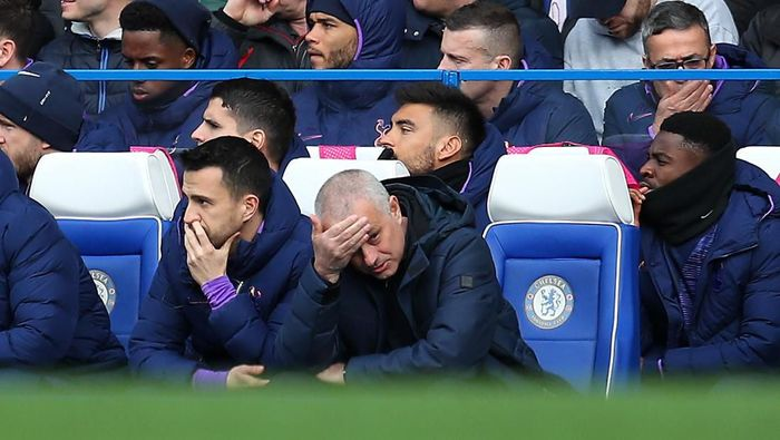 LONDON, ENGLAND - FEBRUARY 22: Jose Mourinho, Manager of Tottenham Hotspur (right), and Joao Sacremento (second right) react during the Premier League match between Chelsea FC and Tottenham Hotspur at Stamford Bridge on February 22, 2020 in London, United Kingdom. (Photo by Catherine Ivill/Getty Images)