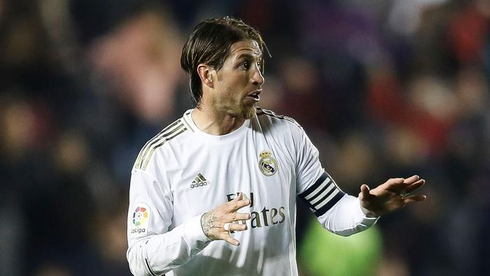 VALENCIA, SPAIN - FEBRUARY 22: Sergio Ramos of Real Madrid gestures after the Liga match between Levante UD and Real Madrid CF at Ciutat de Valencia on February 22, 2020 in Valencia, Spain. (Photo by Eric Alonso/Getty Images)