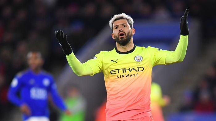 LEICESTER, ENGLAND - FEBRUARY 22: Sergio Aguero of Manchester City reacts after missing a penalty during the Premier League match between Leicester City and Manchester City at The King Power Stadium on February 22, 2020 in Leicester, United Kingdom. (Photo by Laurence Griffiths/Getty Images)