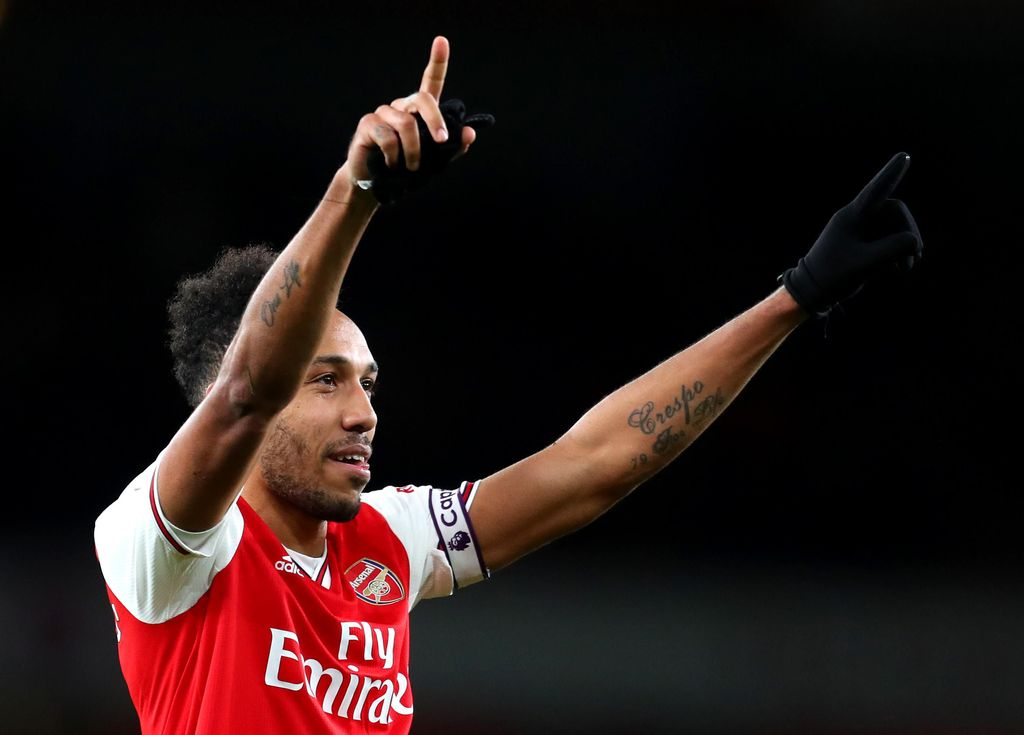 LONDON, ENGLAND - FEBRUARY 23:  Pierre-Emerick Aubameyang of Arsenal  celebrates victory during the Premier League match between Arsenal FC and Everton FC at Emirates Stadium on February 23, 2020 in London, United Kingdom. (Photo by Catherine Ivill/Getty Images)