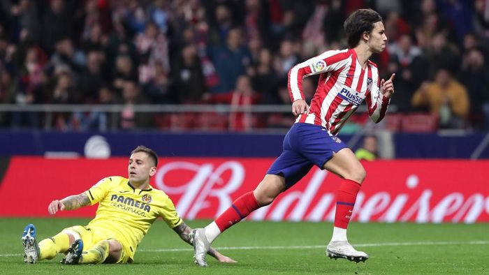 MADRID, SPAIN - FEBRUARY 23: Joao Felix of Atletico Madrid celebrates after scoring his teams third goal during the La Liga match between Club Atletico de Madrid and Villarreal CF at Wanda Metropolitano on February 23, 2020 in Madrid, Spain. (Photo by Gonzalo Arroyo Moreno/Getty Images)