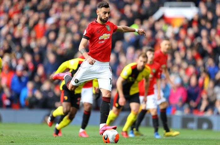 MANCHESTER, ENGLAND - FEBRUARY 23: Bruno Fernandes of Manchester United scores his teams first goal from a penalty during the Premier League match between Manchester United and Watford FC at Old Trafford on February 23, 2020 in Manchester, United Kingdom. (Photo by Richard Heathcote/Getty Images)