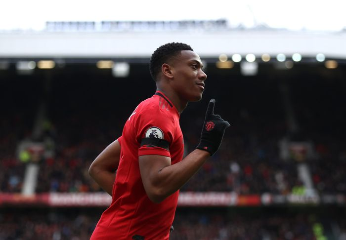 MANCHESTER, ENGLAND - FEBRUARY 23: Anthony Martial of Manchester United celebrates after scoring his teams second goal during the Premier League match between Manchester United and Watford FC at Old Trafford on February 23, 2020 in Manchester, United Kingdom. (Photo by Clive Brunskill/Getty Images)